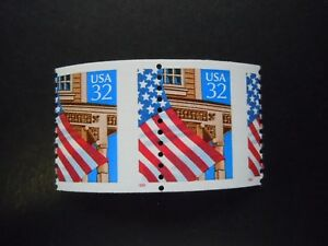 """#2913 32c Flag over Porch  EFO Misperforated Pair MNH OG """"Includes New Mount"""""""