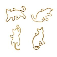 4Pcs Naughty Cats Blank Frame Pendant Open Bezel Setting UV Resin Jewelry