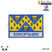 SHROPSHIRE England County Flag With Name Embroidered Iron On Sew On Patch Badge