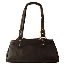 Womens Handbag Genuine Leather Black Ladies Purse Shoulder Bag 12 inch Handmade