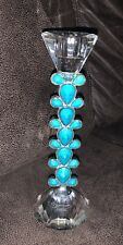 """LOT OF 2 SORELLE BRILLIANT CRYSTAL TURQUOISE CANDLE HOLDER 9 1/2"""" NEW"""