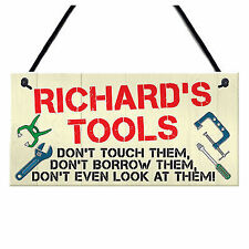 Personalised Tools Rules Man Cave Garage Shed Sign Hanging Plaque Garden Fu Y9L6
