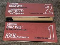 Lot 2 Vintage Coleco Quiz Wiz Cartridge w BOOKS case WORLD SPORTS/#1 1001 TRIVIA