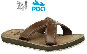 Mens PDQ Mules Beach Leather Style Sandals Brown Slip-on Size 6 7 8 9 10 11 12