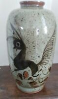 "UNIQUE HAND PAINTED ART POTTERY JAR/VASE. Beautiful 7"" tall, weighs1lb."