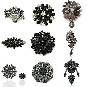 Luxury Black Pearl Rhinestones Crystal Flower Brooch Pin Big Medium Small Sizes