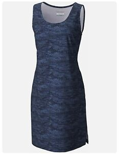 Columbia Womens Plus Size Anytime Active Dress  Nocturnal Micro Print 3X