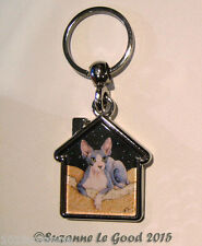 GLITTERY SPHYNX CAT PAINTING KEYRING HANDBAG CAT CARRIER CHARM SUZANNE LE GOOD