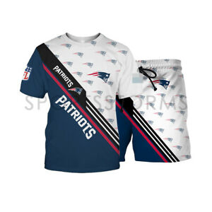 New England Patriots Men Casual Tracksuit Set Summer T-shirts Shorts Suits S-5XL