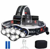 650000LM Zoom T6 LED Headlamp Headlight Torch Rechargeable Flashlight Work Light