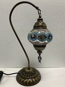 Authentic Turkish Moroccan Mosaic Colorful Swan  Neck Table Bedside Lamp #3