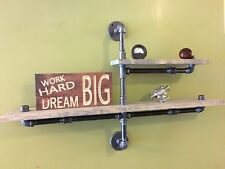 """Industrial Pipe Two Tier Urban shelf design 1""""X6"""" WOOD (Pick your own stain)"""