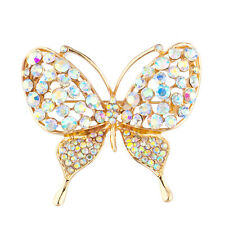 Silver Crystal Rhinestones Brooch Pins Lux Accessories Gold Tone Butterly