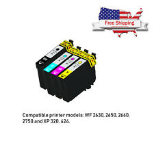 4pk Compatible Ink Cartridges for Epson WorkForce WF-2750 WF-2760 Black Color