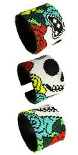 "BR601 Day of The Dead Skull Star Wrap Cuff Czech Glass Seed Beads 7.5"" Guatemala"