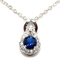 Silver Blue Sapphire And Diamond 1.25ct Necklace