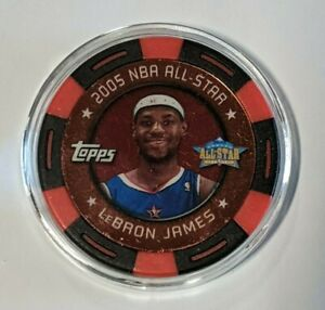 LeBron James Poker Chip 2005-06 Topps Black/Red 006/399 All-Star Jersey # Match