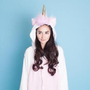 Unicorn Magicorn Hooded Soft Plush Jump Suit One Piece Sleepwear Pyjamas - UK