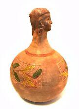 Antique Figural Pottery Vase Jar Ladies Head Round Base Estate Find 10 in Tall
