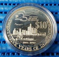 1990 Singapore 25 Years of Independence SG25 $10 Commemorative Silver Proof Coin