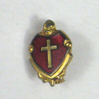 Pin Cross Red Shield Goldtone Small Size 1/2 inches Vintage Enamel