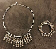 Crystal 💎Silver Tone Neckless & Braselet - 💎Set of 2 Gorgeous Jewerly 💎