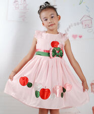 Nuevo Partido De La Muchacha Flor Verano vestido color rosa,Blanco 18 M a 5 Años