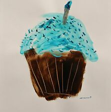 Original CUPCAKE Expressionism Painting Acrylic John Williams art JMW