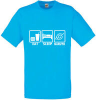 Eat Sleep Naruto, Naruto inspired Men's Printed T-Shirt New Tshirt Crew Neck Tee