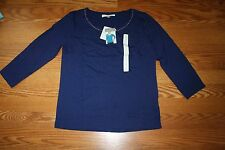 NWT Womens ELLEN TRACY CO Navy Embellished 3/4 Sleeve Shirt Blouse S Small