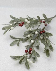 GISELA GRAHAM CHRISTMAS GLITTERED MISTLETOE RED WHITE BERRIES BRANCH SPRAY