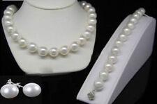 8mm White Akoya Shell Pearl Round Beads Necklace Bracelets Earrings Set