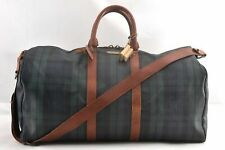 Authentic POLO Ralph Lauren Vintage Green Check Leather Travel Boston Bag 95655