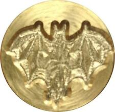 """Bat with Spread Wings Wax Seal Stamp 3/4"""" dia. brass seal, slightly irregular"""