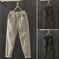 ZANZEA Damen Herbst Cord Lang Hose Freizeithose Elastische Taille Tasche Pants