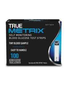 True Metrix Blood Glucose Test Strips - Box of 100 - New - Free P&P