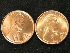 1949 - D AND S BU LINCOLN CENTS RED CHOICE/GEM COINS GREAT MINT LUSTER