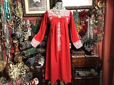 Beautiful Vintage Mexican Oaxacan Red Dress White Embroidery Long Sleeve Sz S/M