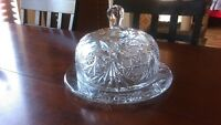 Fine Crystal Domed Cheese Dish - 2 pc. - Deep Cut Beautiful Patterns - Heavy