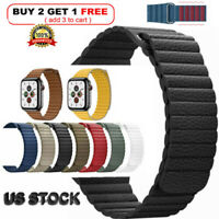 40 38 42 44mm Magnetic Leather Loop Strap Apple Watch Band Series 6/5/4/3/2/1/SE