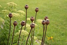 Set of 3 Small Metal Poppy Seed Heads Decorative Garden Rusted Support. 1.12m