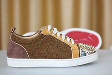 NEW CHRISTIAN LOUBOUTIN Antony Suede Tweed Python Louis Spikes Sneaker Shoe 40,5