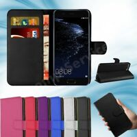 For Huawei P10 Phone Case Luxury Leather Magnetic Flip Wallet Stand Cover Black