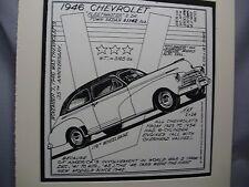 1946 Chevrolet Fleetmaster  Auto Pen Ink Hand Drawn  Poster Automotive Museum