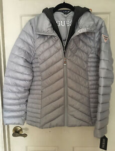 NWT Guess Los Angeles Women's Gray Quilted Puffer Winter Jacket Sz M