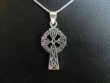 """Argento Sterling (925) Croce Celtica Ciondolo Con Argento 925 18"""" Catenina Nuova"""
