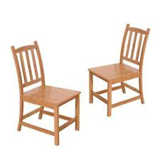 2Pcs Bamboo Dining Chairs Seat High Back Design Home Furniture Wood Color