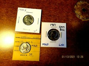 Three Brilliant Uncirculated Mint State 1951 1951d 1951s Jefferson Nickels