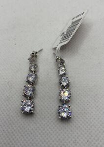 NEW Tiara Cubic Zirconia Drop Dangle Earrings Sterling Silver $150 FREE Shipping