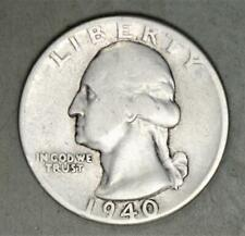 1940 Washington Quarter Dollar Silver Coin